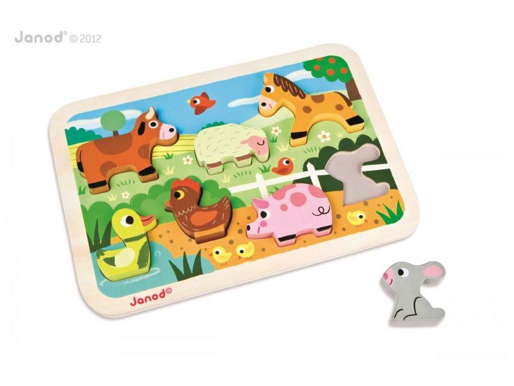 J07055 Drevene vkladacie puzzle pre najmensich Farma Chunky Janod od 1 roka 7 dielov a 2