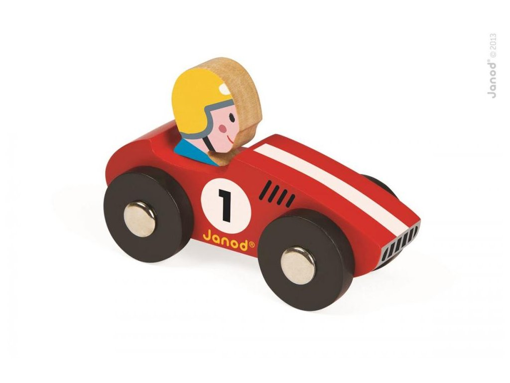 J08548 Drevene auto Racer Story Racing Janod od 1 roka cervenezlte a