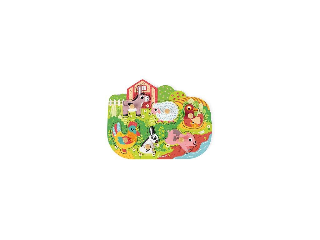 J07096 Janod Vkladacie puzzle s uchytkou Farma 5