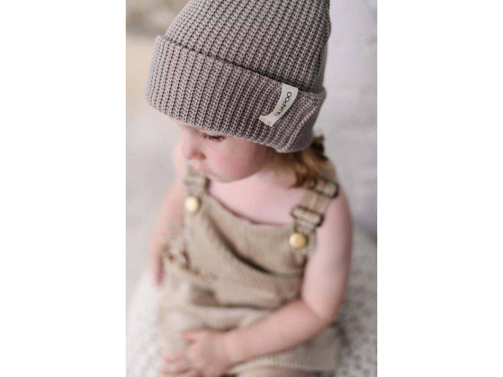 GUAPOO   Bavlněná pletená čepice Ash
