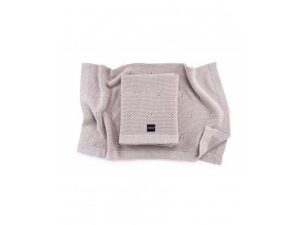 knitted cotton blanket paris color light beige