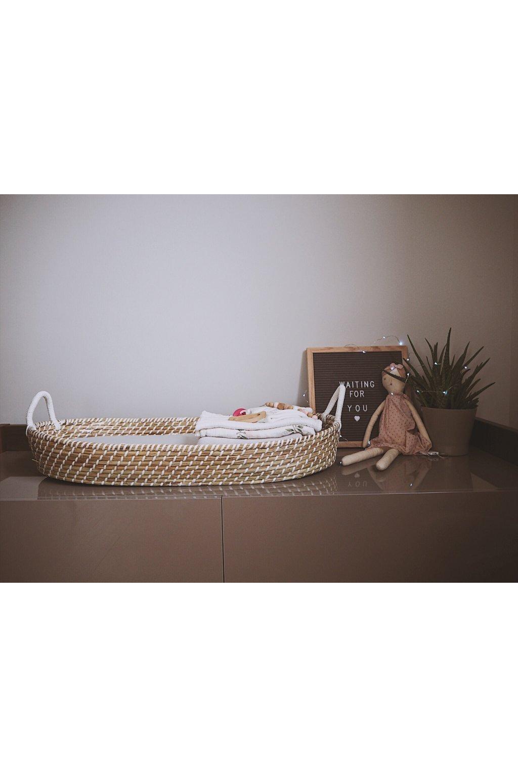 Ahojbaby Přebalovací košík pro miminko Smart Basket natural + podložka