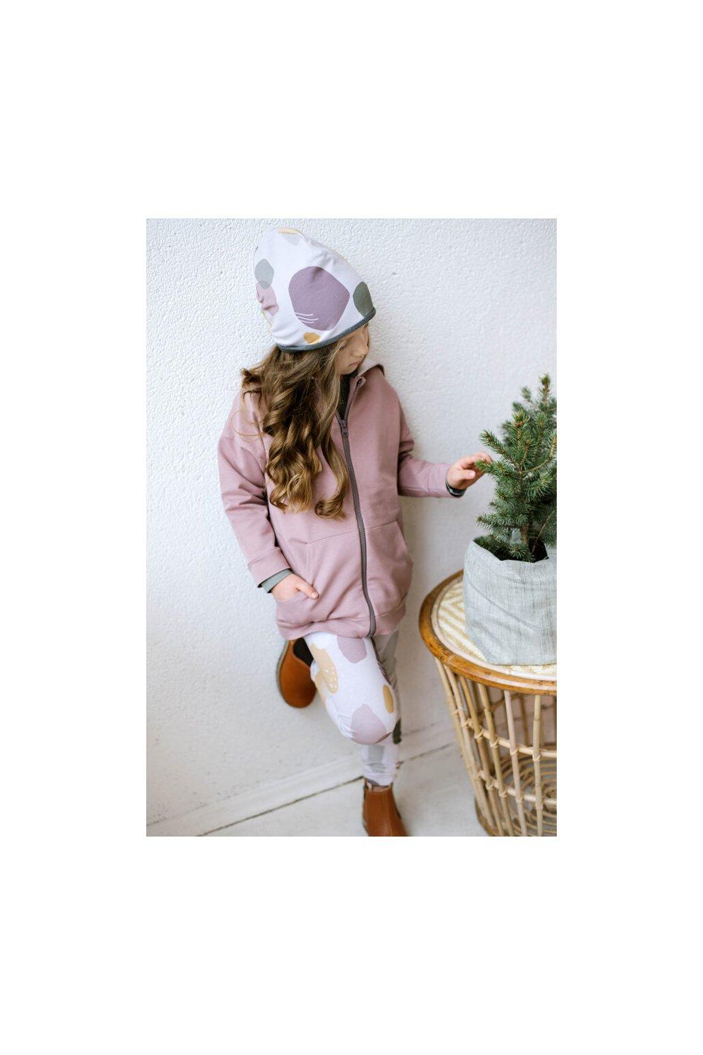 WUF KIDS oboustranná čepice s barevnými skvrnami/ růžová z organické bavlny