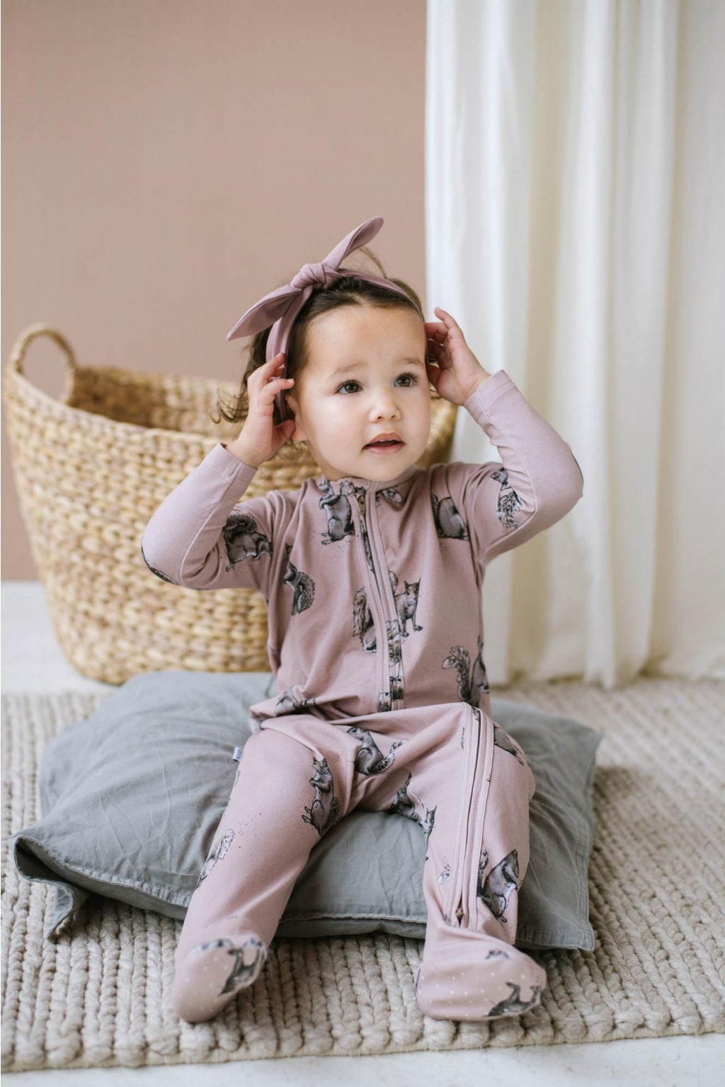 WUF KIDS dívčí pyžama z organické bavlny na zip - veverky