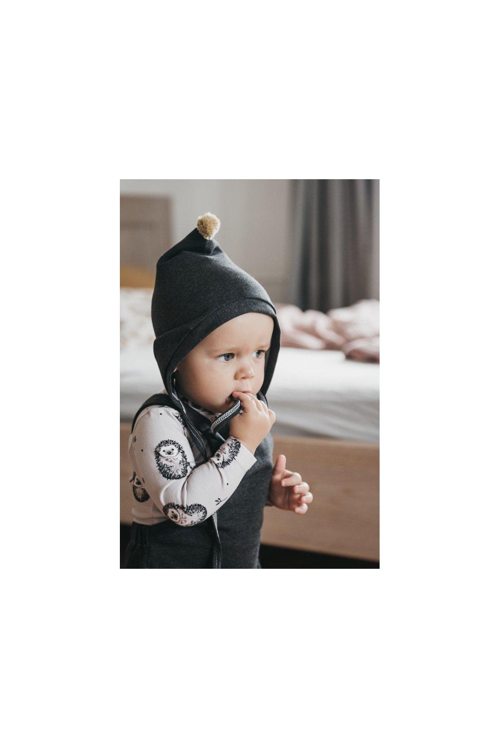 WUF KIDS dětská Pixie čepice s bambulí - šedá