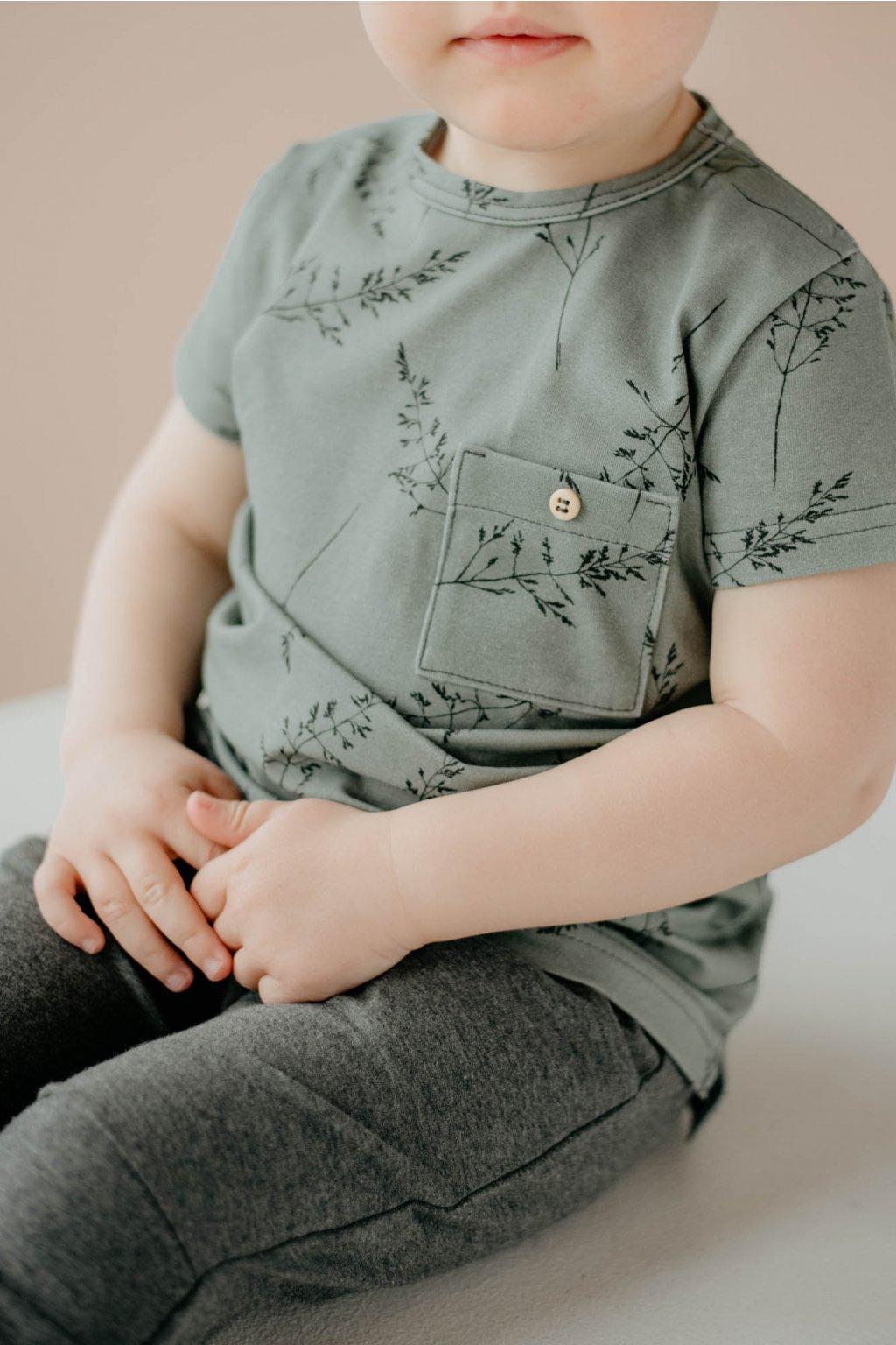 WUF KIDS chlapecké tričko s krátkým rukávem - kouřově zelená