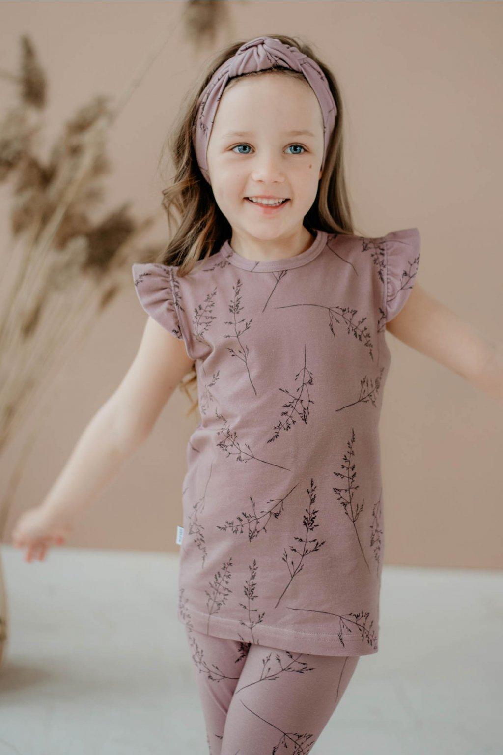 WUF KIDS dívčí tričko s volánky a krátkým rukávem - tmavě růžová