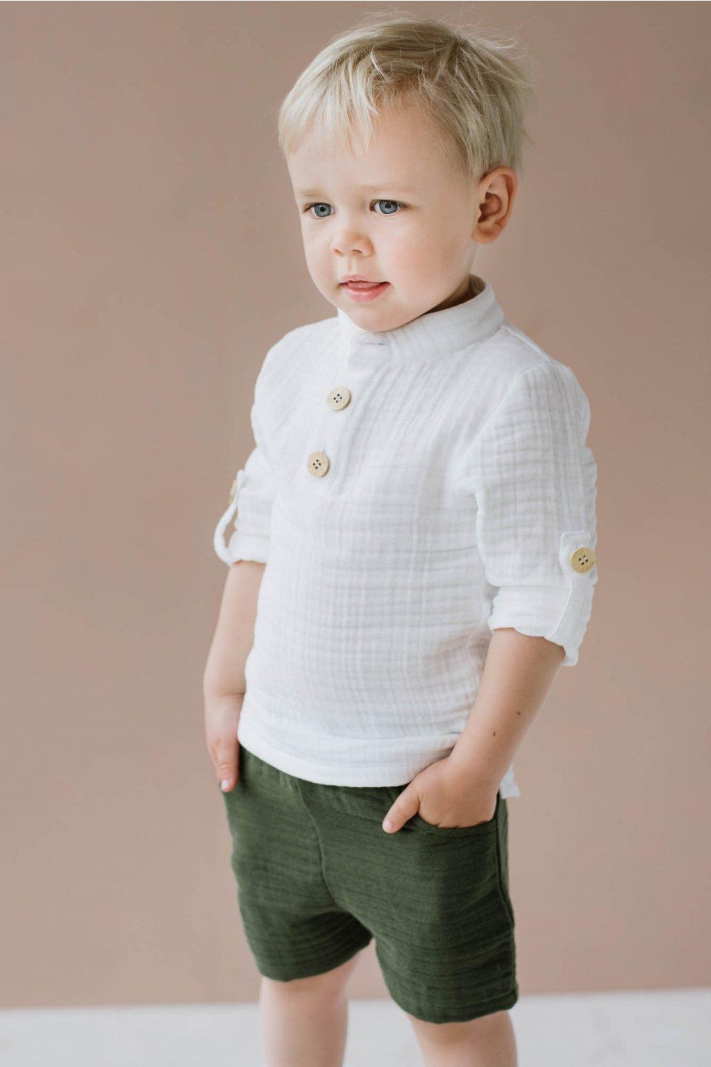 WUF KIDS chlapecká mušelínová košile s dlouhým rukávem - bilá