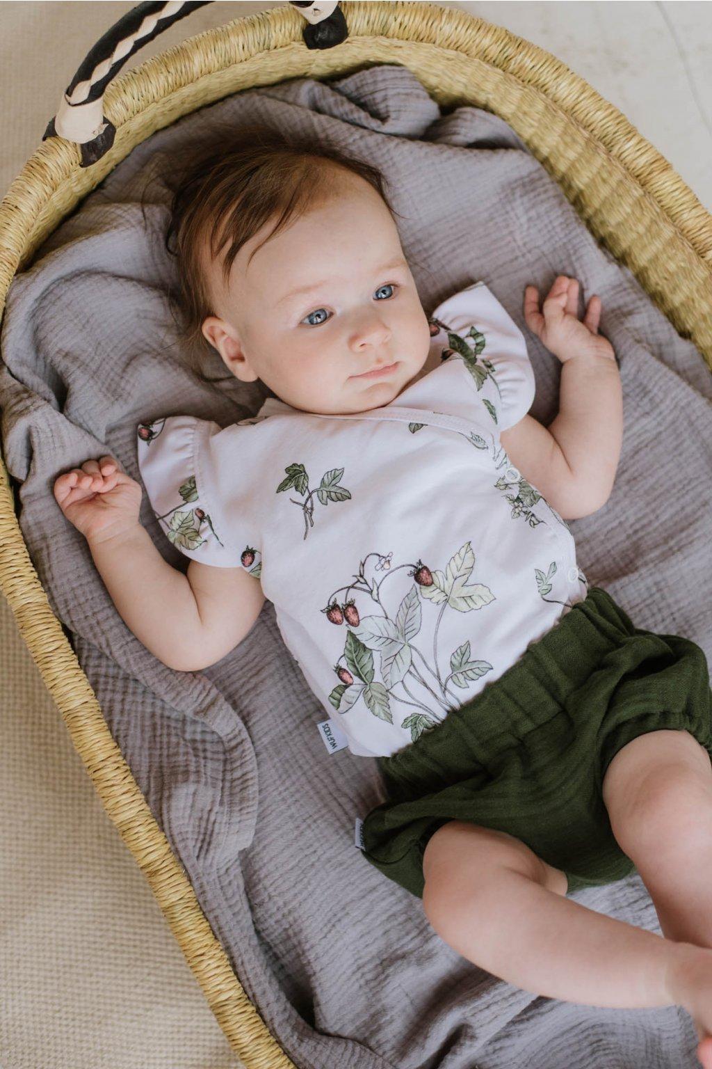 WUF KIDS dívčí mušelínové šortky - zelené