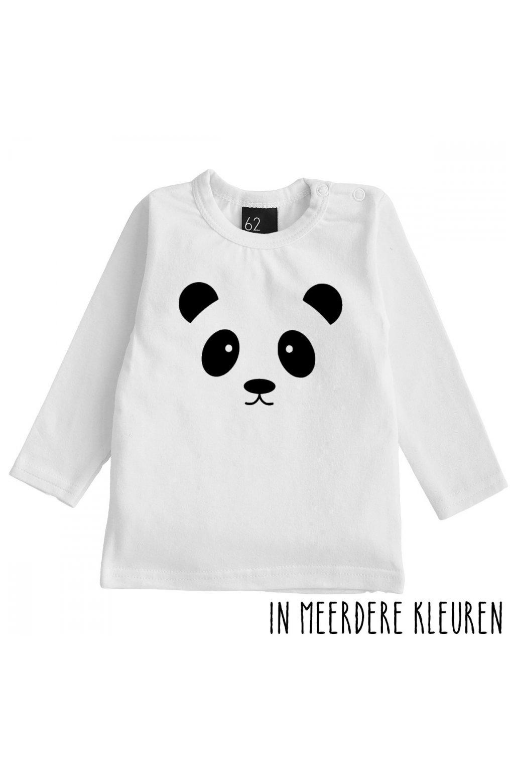 panda longsleeve shirt babystyling wit zwart