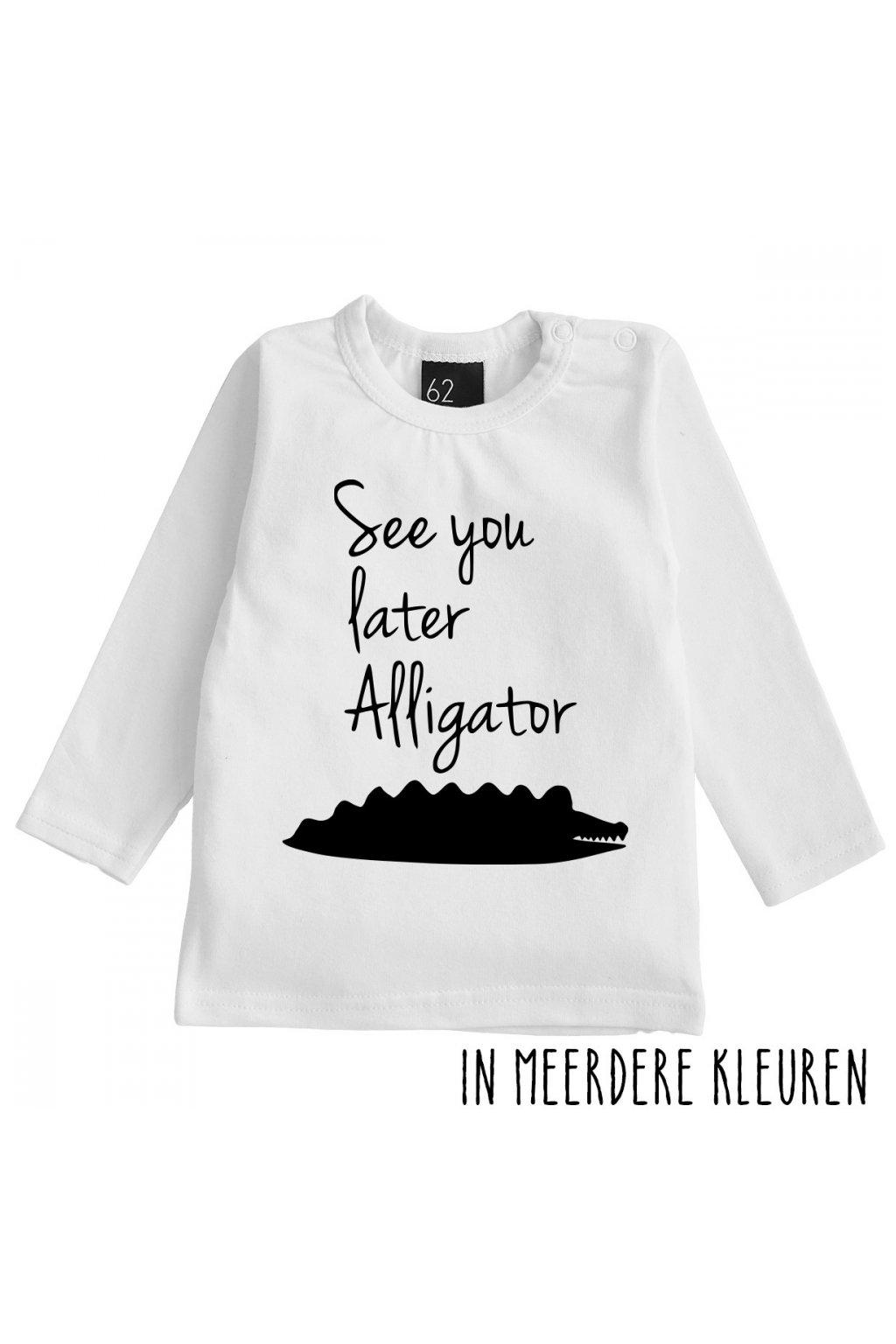 see you later alligator longsleeve shirt babystyling wit zwart (1)