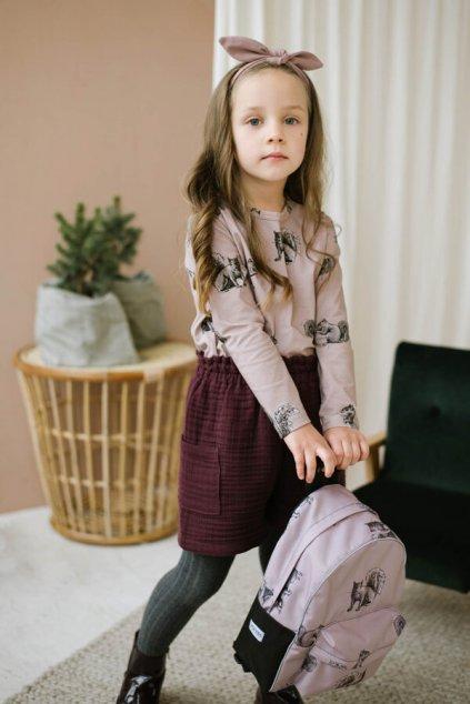 WUF KIDS dívčí triko s dlouhým rukávem - veverky