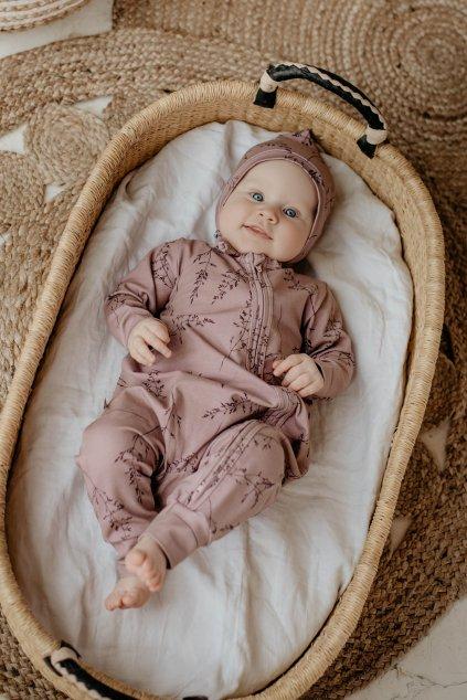 WUF KIDS dívčí pyžama s dvojitým zipem - tmavě růžové