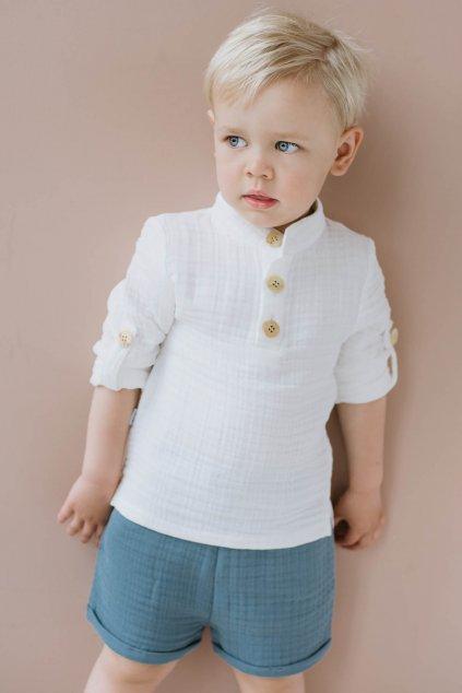WUF KIDS chlapecké mušelínové šortky s kapsami - modré