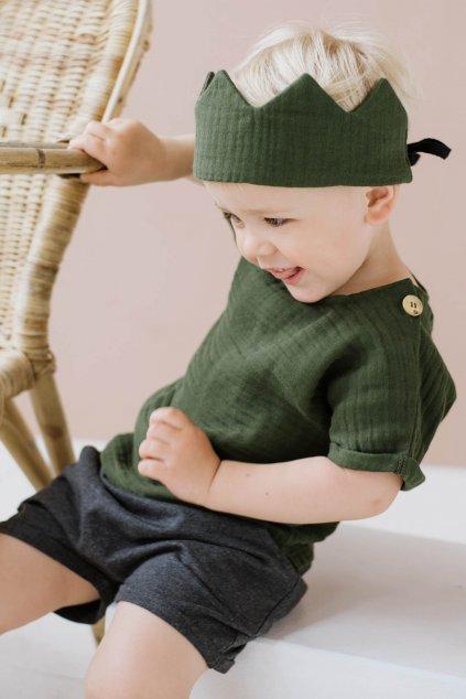 WUF KIDS stylová čelenka - korunka - zelená