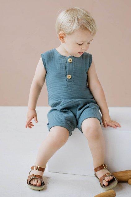 WUF KIDS unisex mušelínový overal - modrý