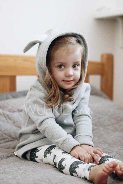 WUF KIDS mikina s králičíma ušima - světle šedý