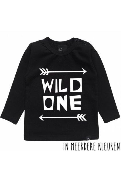 wild one longsleeve shirt babystyling zwart wit
