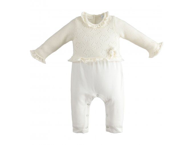 Overal bez šlapek pletený vzor krémově bílá Minibanda