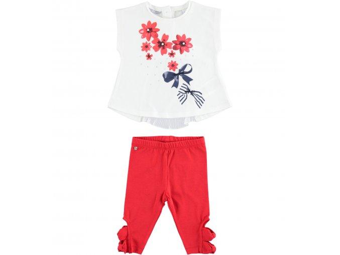 Set triko s mašlí a legíny s ozdobnou nohavičkou červená Sarabanda