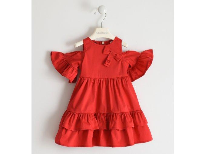 Šaty letní tkané s odlehčenými rukávy červená Sarabanda