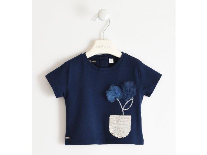 Triko s krátkým rukávem a květinou tmavě modrá Sarabanda