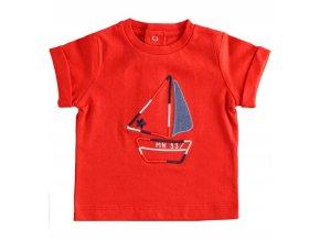 Triko s krátkým rukávem a plachetnicí červená Minibanda