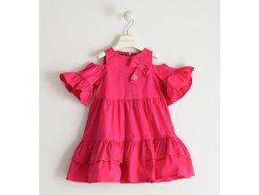 Šaty letní tkané s odlehčenými rukávy růžová Sarabanda