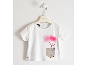 Triko s krátkým rukávem a květinou bílá Sarabanda