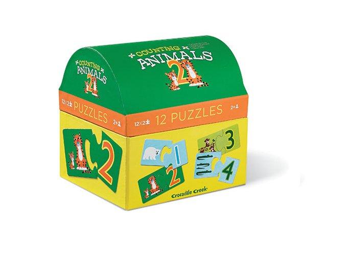 Puzzle truhlička - Počítání se zvířátky