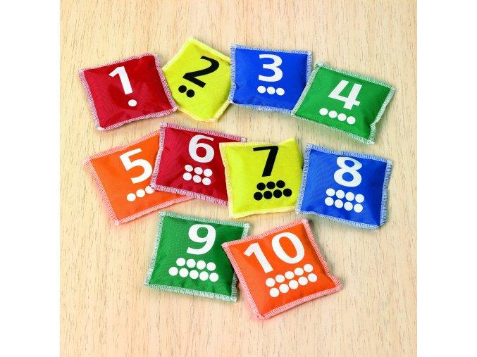 Váčky s tečkami a čísly (10 ks) / Number and dot bean bags (10 pc)