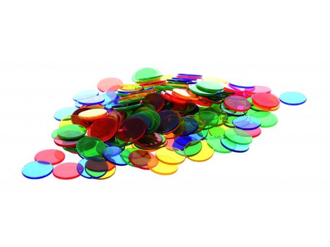 Průhledné barevné kruhy (300 ks) / Translucent colour counters (300 pc)