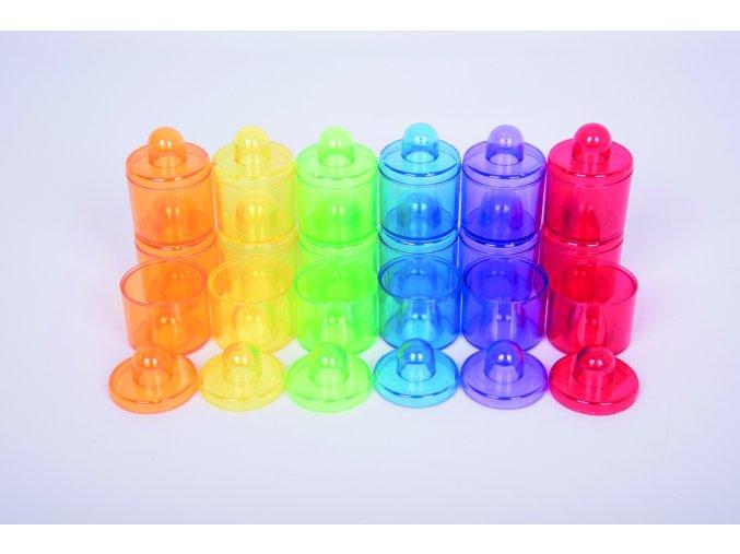 Průhledné barevné nádoby (18 ks) / Translucent colour pots set (18 pc)