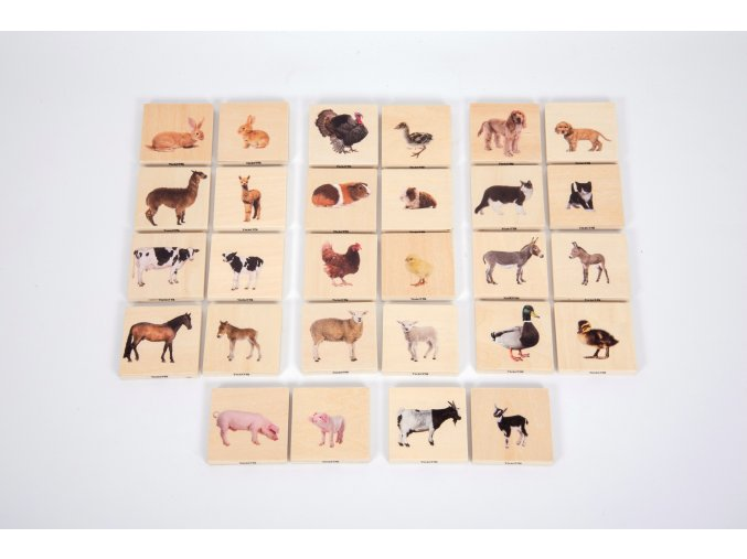 Dřevěné pexeso domácí zvířata / Domestic animal family match