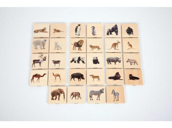Dřevěné pexeso - Divoká zvířata (28 ks) / Wild animal family match (28 pc)