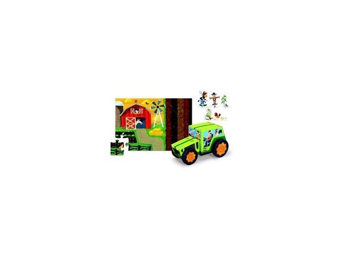 Hraj si a poskládej puzzle - traktor na farmě
