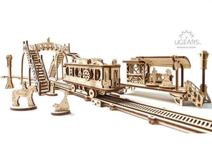 Dřevěné 3D mechanické puzzle tramvajová linka