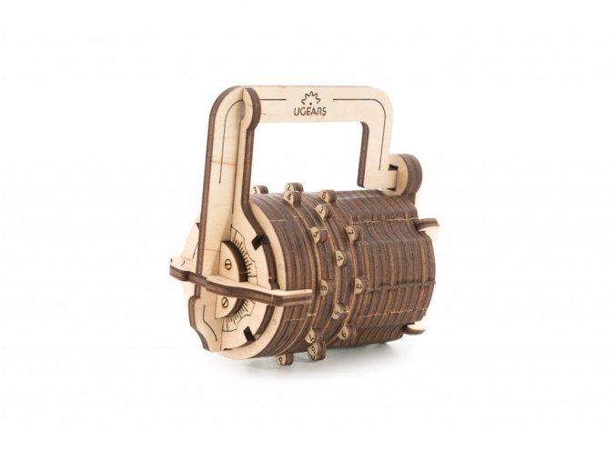 Dřevěné 3D mechanické puzzle číselný zámek