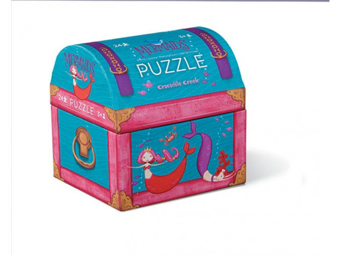 Mini puzzle truhla - Mořské panny (24 ks) / Mini puzzle chest - Mermaid (24 pc)