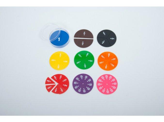 Barevné kruhy na učení zlomků (Fraction Circles Printed)