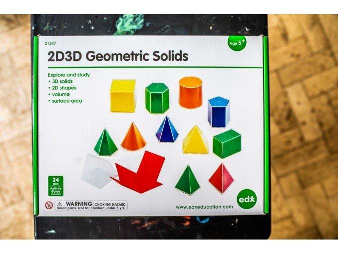 Skládací geometrické tvary, set 12ks / Folding Geometric Solids 2D/3D 12PC