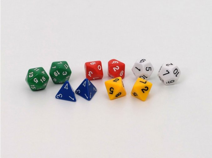 Polyhedrální kostky (polyhedral dice assortment)