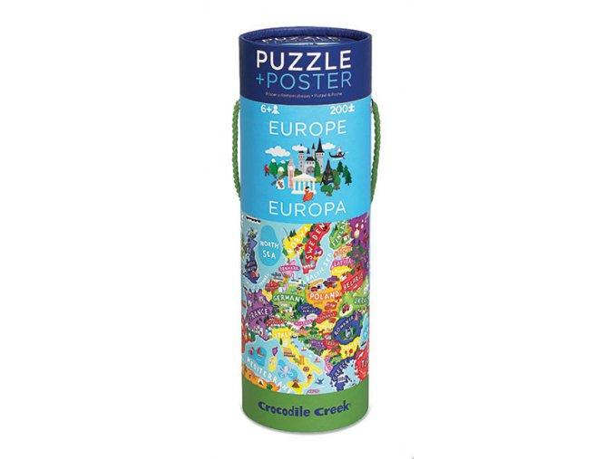 Puzzle a plakát - Evropa (200 dílků)