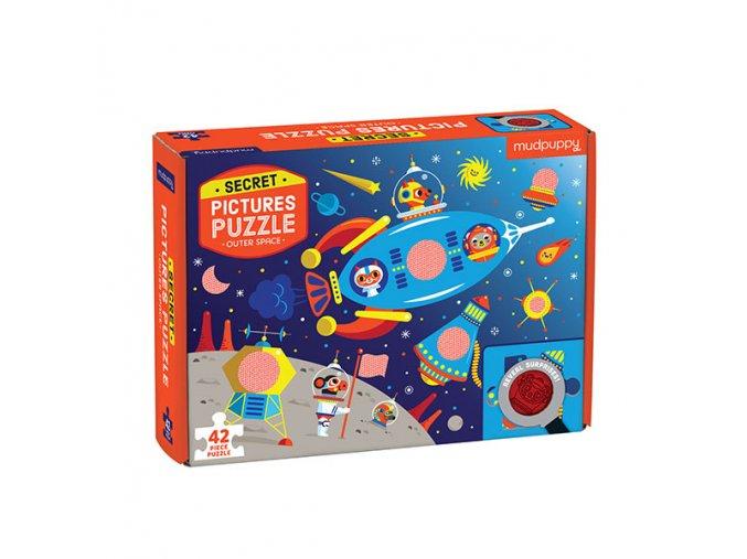 Puzzle s tajným obrázkem - Vesmír / Puzzle Secret Picture - Outer Space (42dílků)