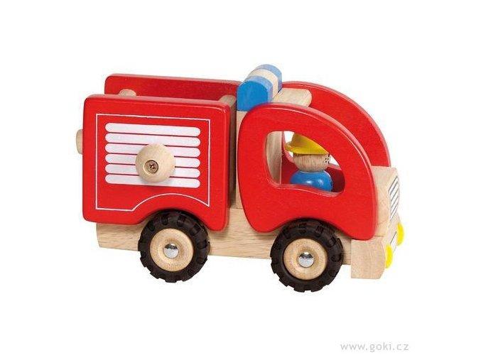 Dřevěné autíčko - hasiči
