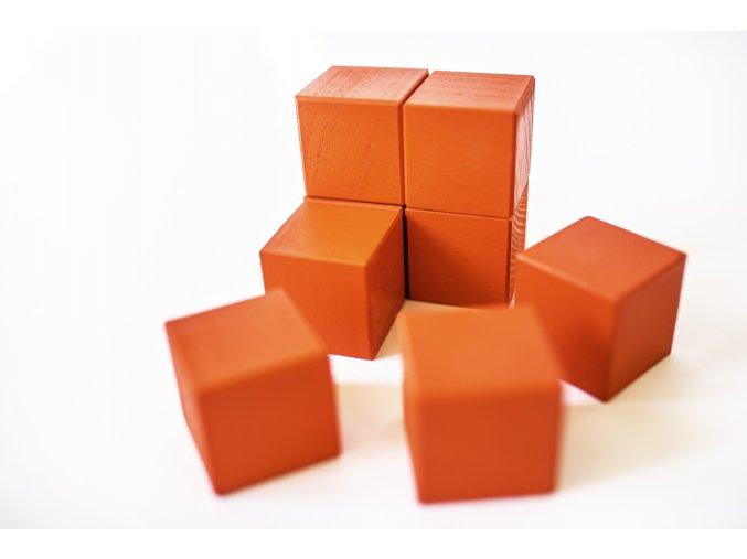 Dřevěné krychle 4x4cm - červené (8ks)