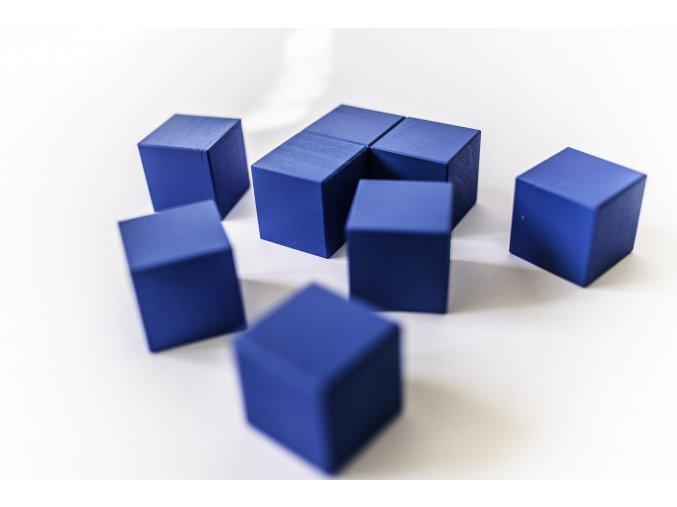 Dřevěné krychle 4x4cm - modré (8ks)