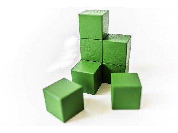 Dřevěné krychle 4x4cm - zelené (8ks)