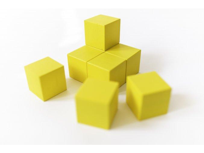 Dřevěné krychle 4x4cm - žluté (8ks)