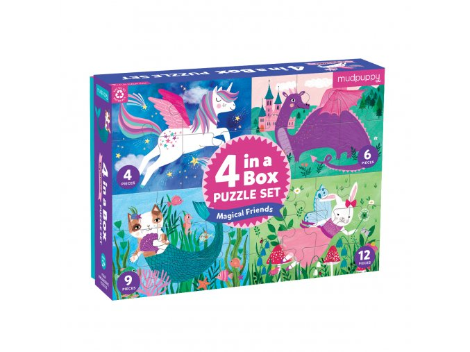 Puzzle 4 v 1 - Přátelé / 4 in a Box - Magical Friends
